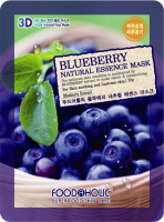 Тканевая 3D маска с черникой FoodaHolic Blueberry Natural Essence Mask